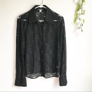 St John Lace Sparkley Button Up Blouse Size 10